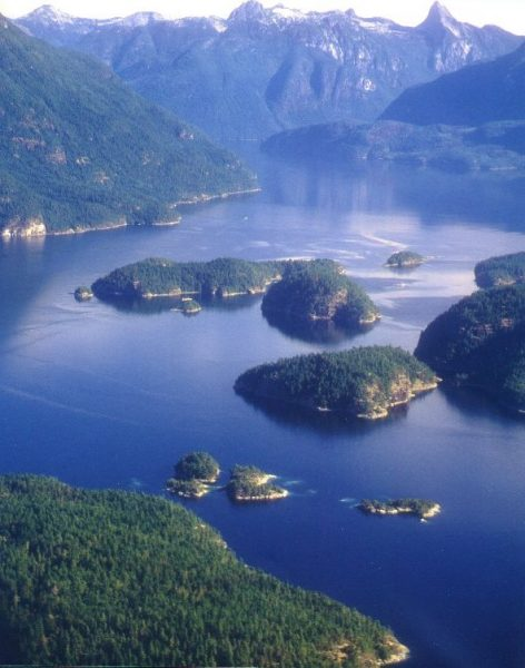 kayaking desolation sound islands mountains aerial view